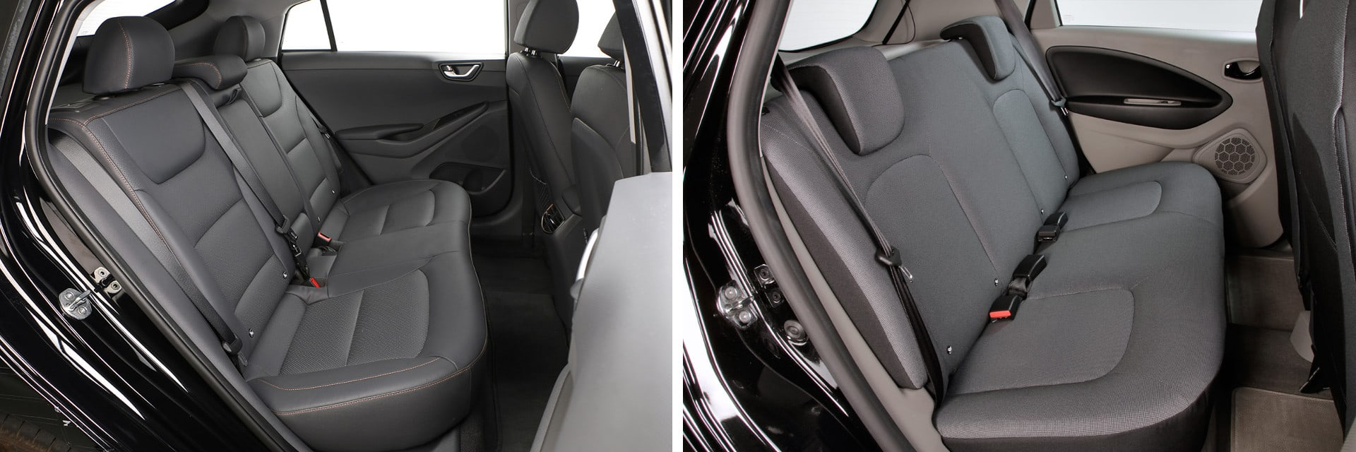 El IONIQ (izq.) tiene más espacio interior en las plazas traseras que el Renault ZOE (dcha.)