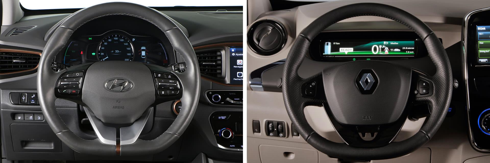 Los volantes de ambos modelos cuentan con ajuste tanto en vertical como en horizontal.