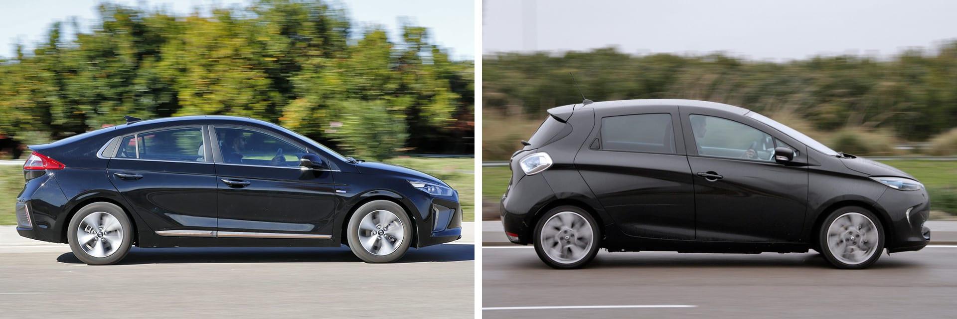Las fotos del Hyundai IONIQ (izq.) corresponden al acabado Style (37.375 €) y las del Renault ZOE (dcha.) al Intens 40 (29.000 €). A estos precios habría que sumar el del equipamiento opcional de cada modelo (*) / km77