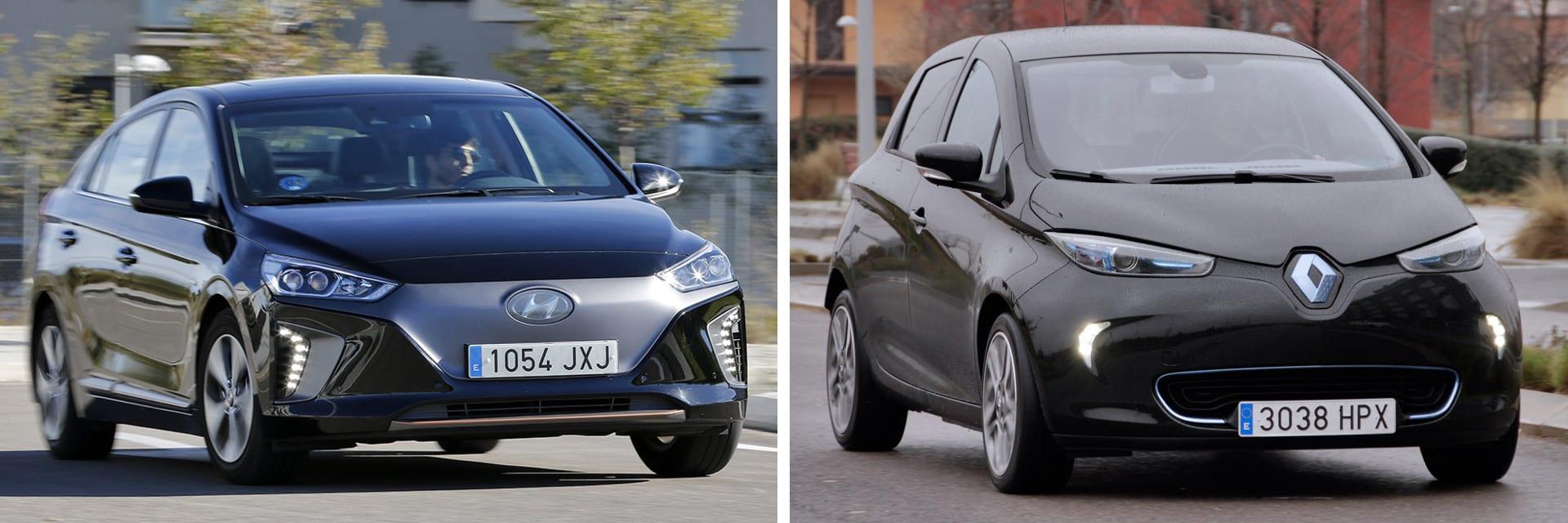 Según nuestras mediciones, en ciudad y por encima de los 10 ºC, el IONIQ (izq.) puede recorrer hasta 200 km; la autonomía del Renault ZOE (dcha.) llegaría hasta los 250 km en esas mismas condiciones.