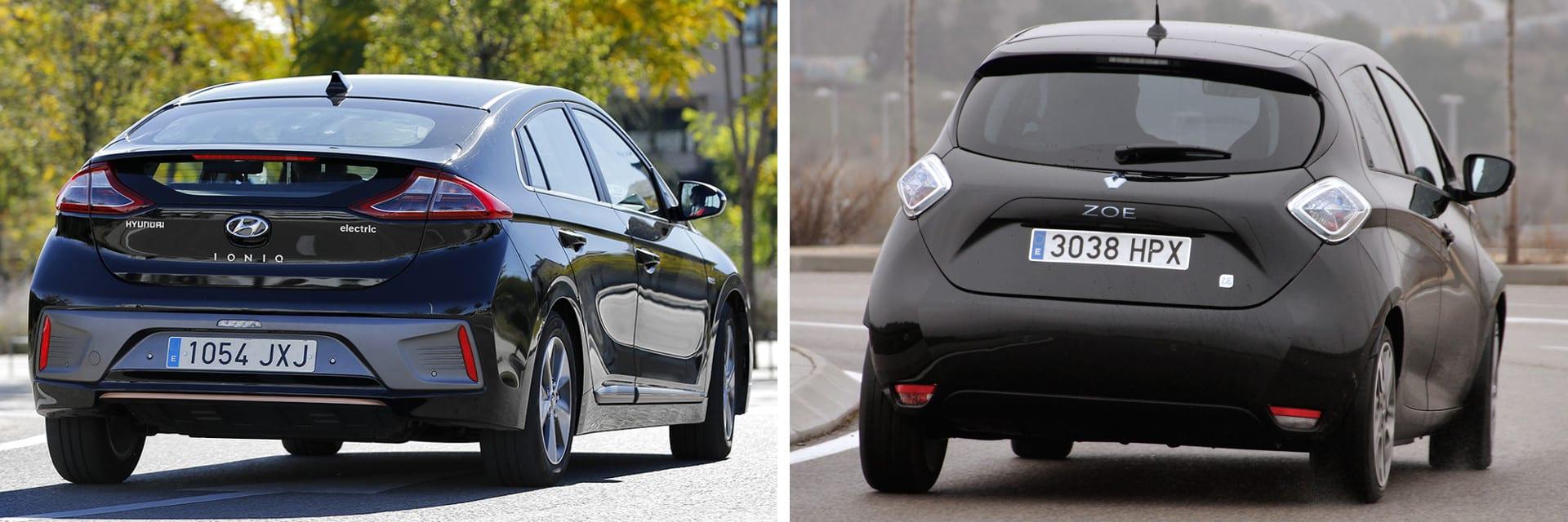 En carretera, a 120 km/h y por encima de los 15 ºC, el Hyundai (izq.) puede recorrer hasta 170 km., según nuestras mediciones. El Renault ZOE (dcha.) puede llegar hasta los 200 km.