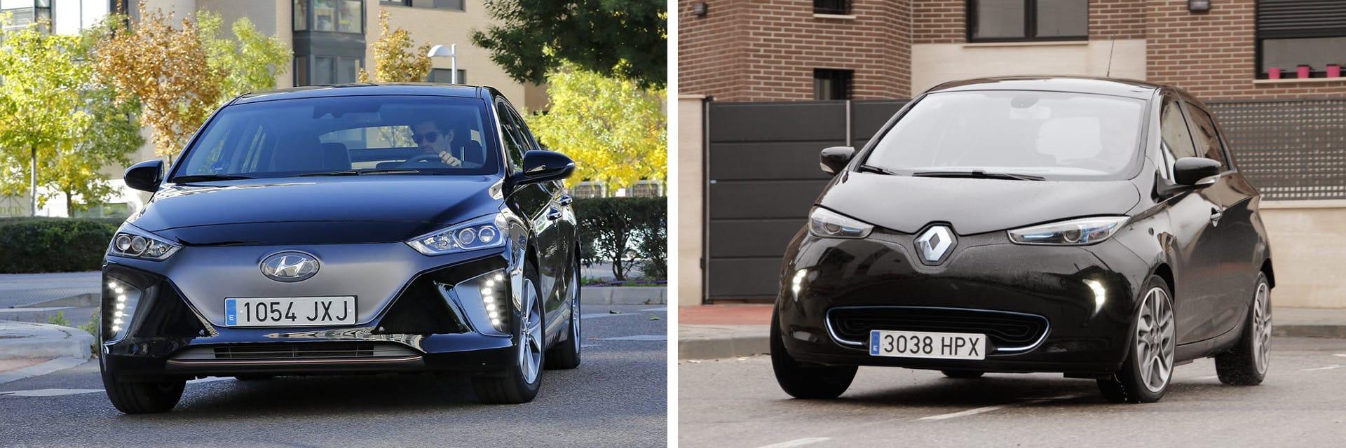 La batería del del Hyundai IONIQ (izq.) consume un 25 por ciento menos que la del Renault ZOE (dcha.)