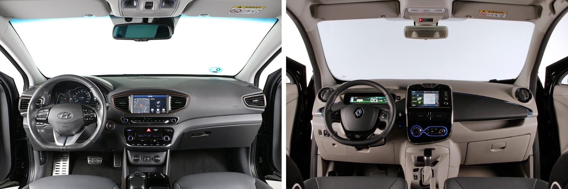 El Hyundai IONIQ (izq.) viene de serie con la alarma por cambio involuntario de carril y la alarma antisueño. Dos sistemas que no están disponibles en el ZOE (dcha.)
