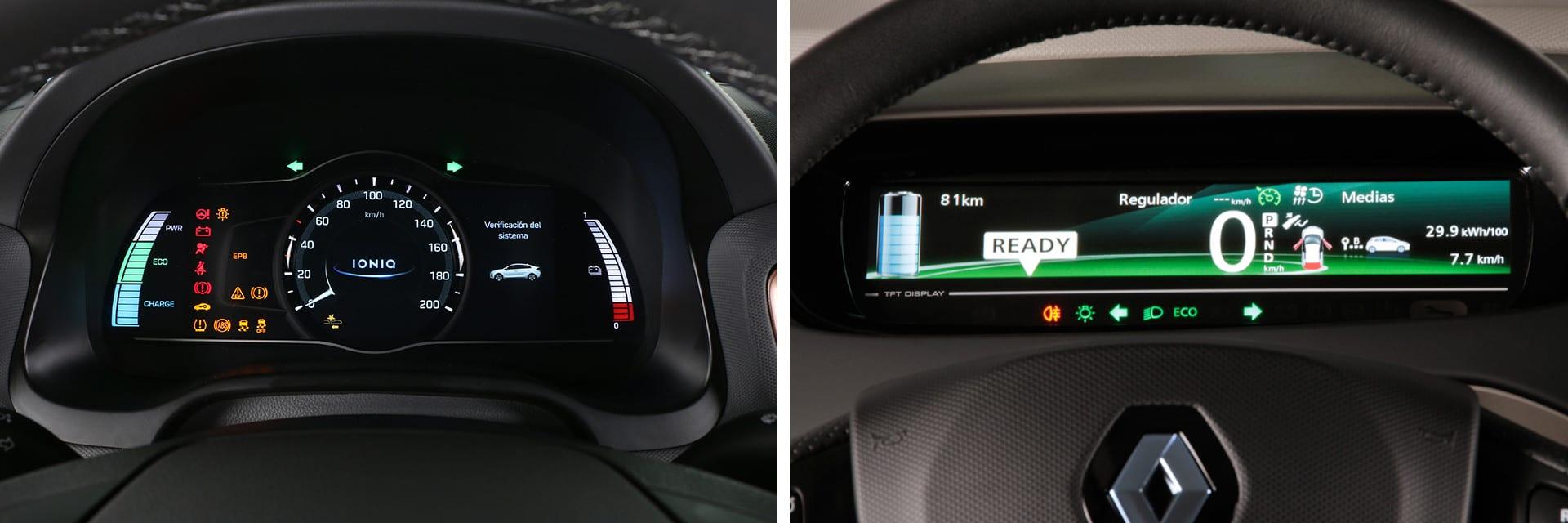 El cuadro de instrumentos del IONIQ (izq.) está formado por una pantalla central con dos indicadores a los lados; la del ZOE (dcha.) es una pantalla digital.