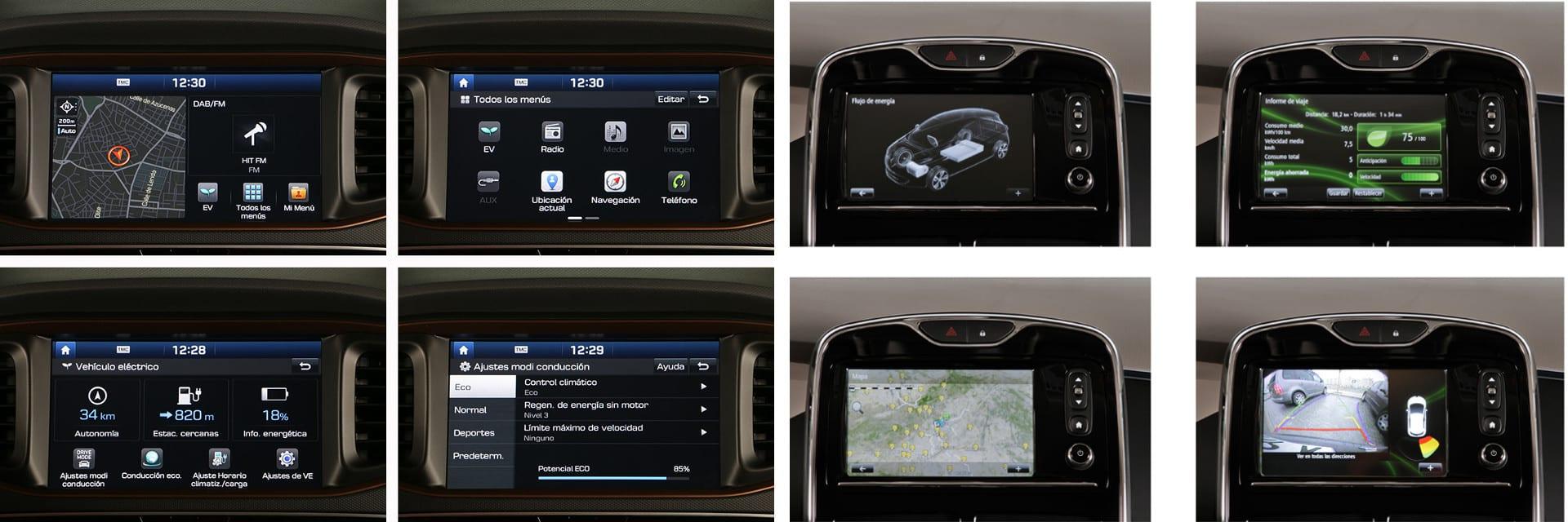El IONIQ (izq.) viene de serie con cámara de visión trasera. Esta opción cuesta 200 euros en este Renault ZOE (dcha.)