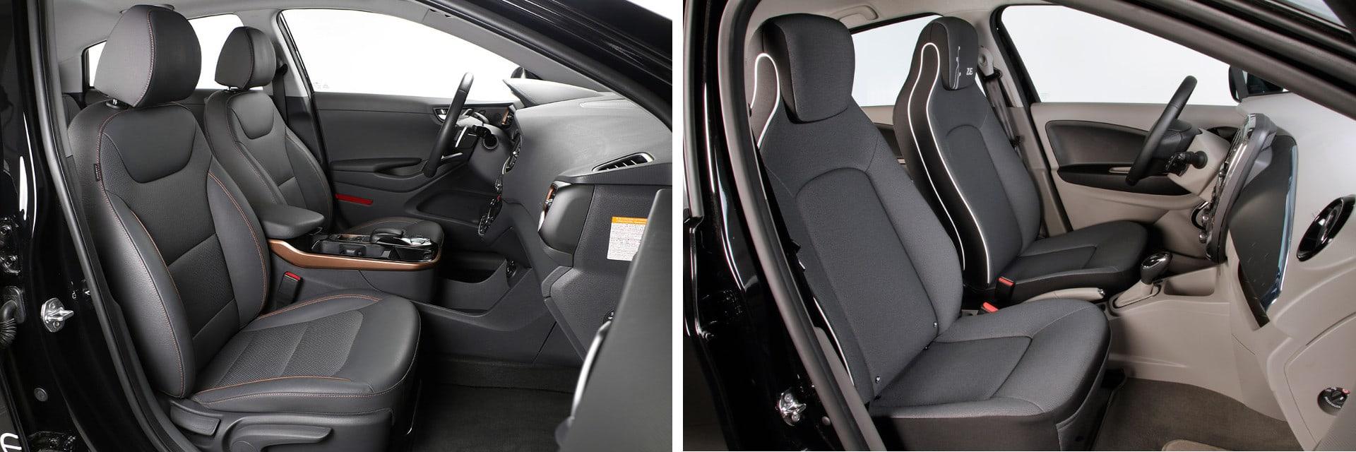 Los asientos del IONIQ (izq.) tienen regulación en altura y en el apoyo lumbar. Los del ZOE (dcha.) no tienen estos ajustes.