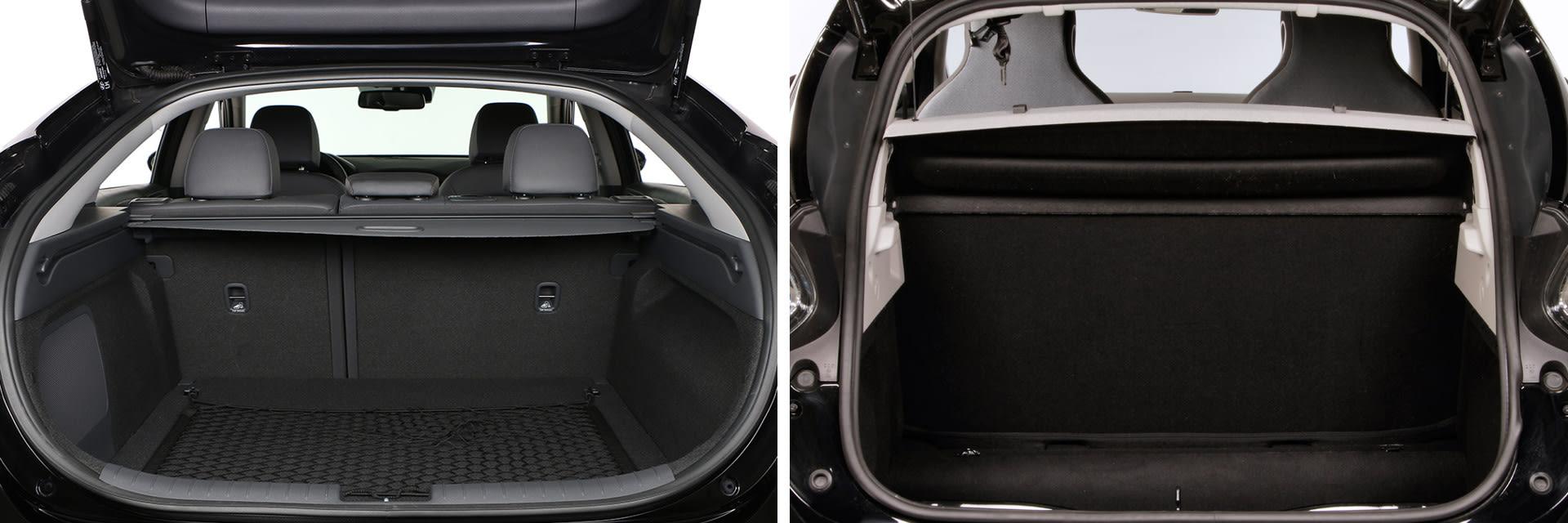La capacidad de maletero del Hyundai IONIQ (izq.) es de 350 litros. La del Renault ZOE (dcha.) es de 338 litros.