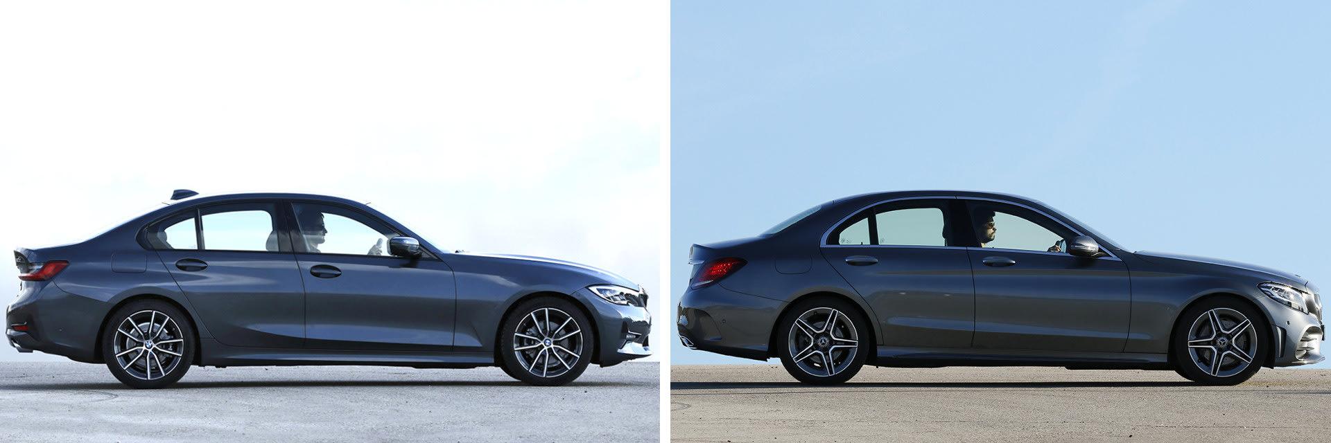 Las fotos del BMW Serie 3 (izq.) corresponden al acabado Sport (48.800 €) y las del Mercedes-Benz Clase C (dcha.) al AMG Line (47.791 €). A estos precios habría que sumar el del equipamiento opcional de cada modelo (*) / km77
