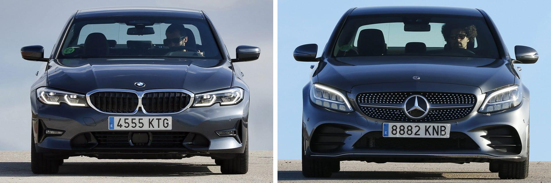 El BMW Serie 3 (izq.) es más ágil que el Clase C (dcha.) y además cuenta con una peor insonorización.