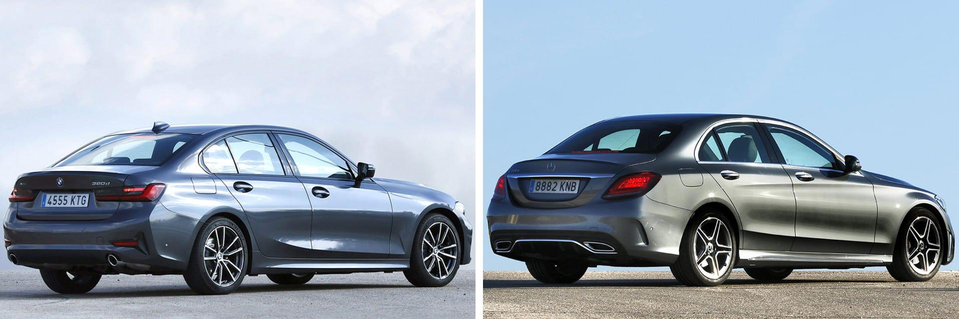 Este BMW Serie 3 (izq.) tiene una potencia de 190 caballos, mientras que la del Mercedes-Benz Clase C es de 194 caballos.