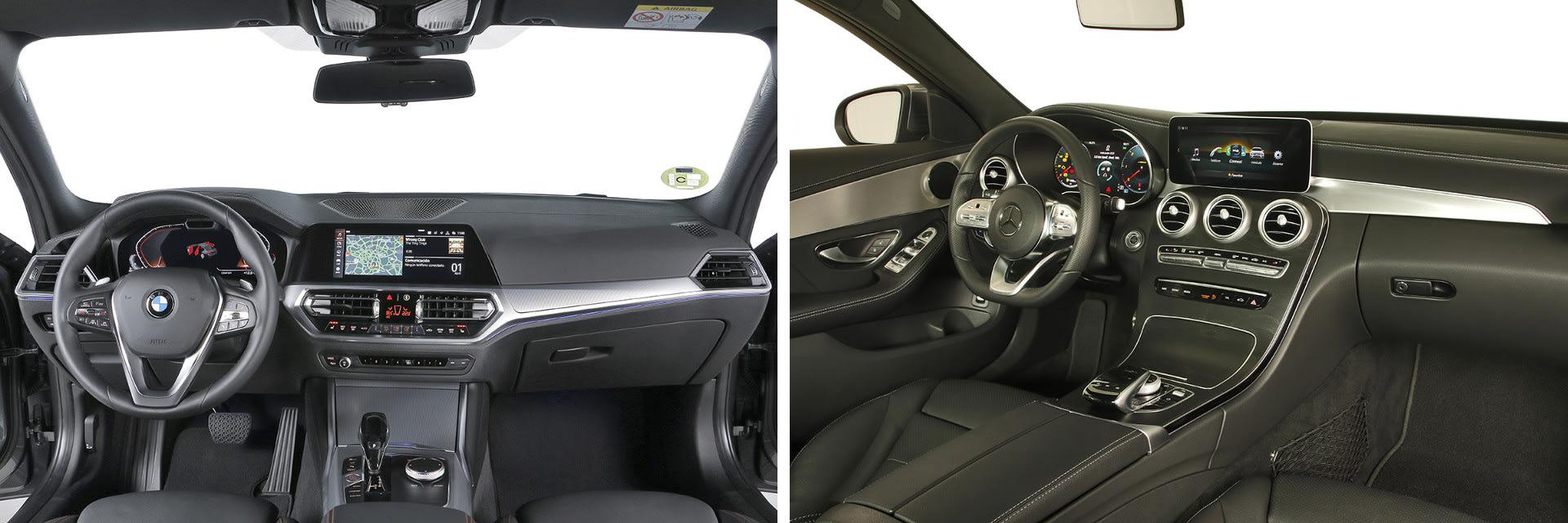 En el Mercedes-Benz Clase C (dcha.) los materiales que recubren el interior se ensucian con mucha facilidad.