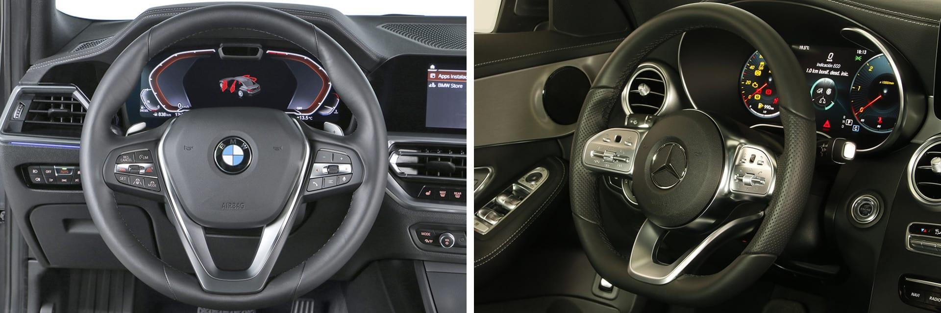 En cuanto a comodidad y manejo, el puesto de conducción del BMW Serie 3 (izq.) es mejor que el del Mercedes-Benz Clase C (dcha.)