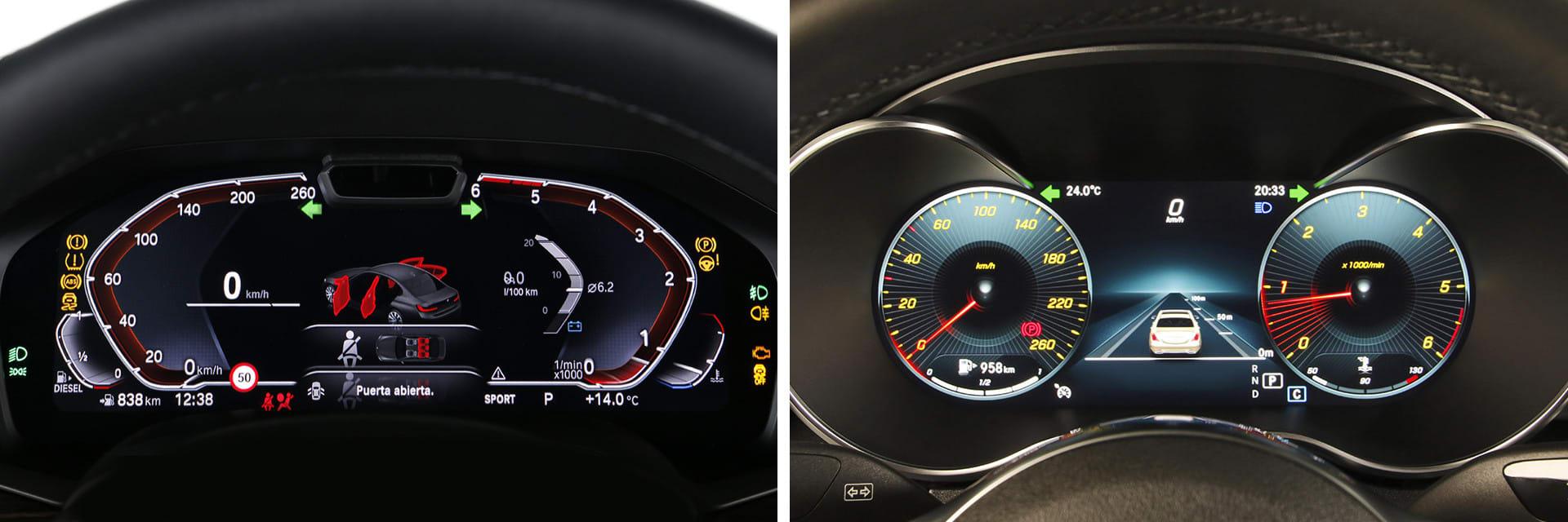 Tanto el BMW Serie 3 (izq.) como el Mercedes-Benz Clase C (dcha.) tienen la posibilidad de tener la instrumentación digital.
