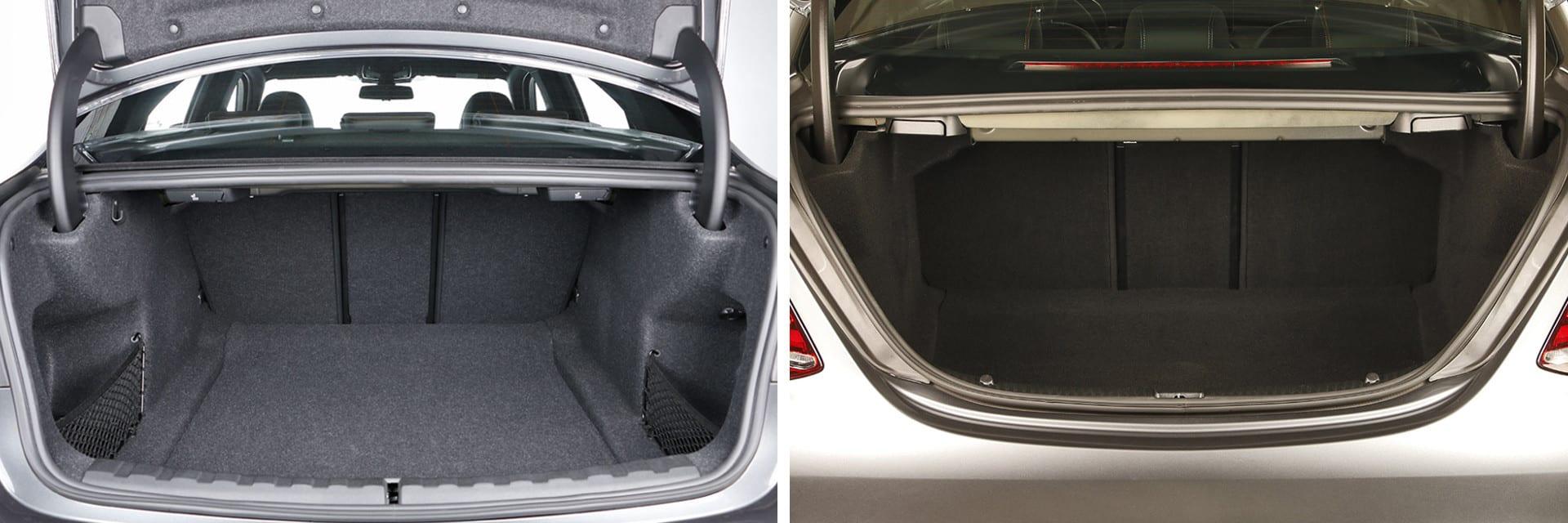 El maletero del BMW Serie 3 (izq.) es 25 litros más amplio que el del Mercedes-Benz Clase C (izq.): 480 litros frente a 455.