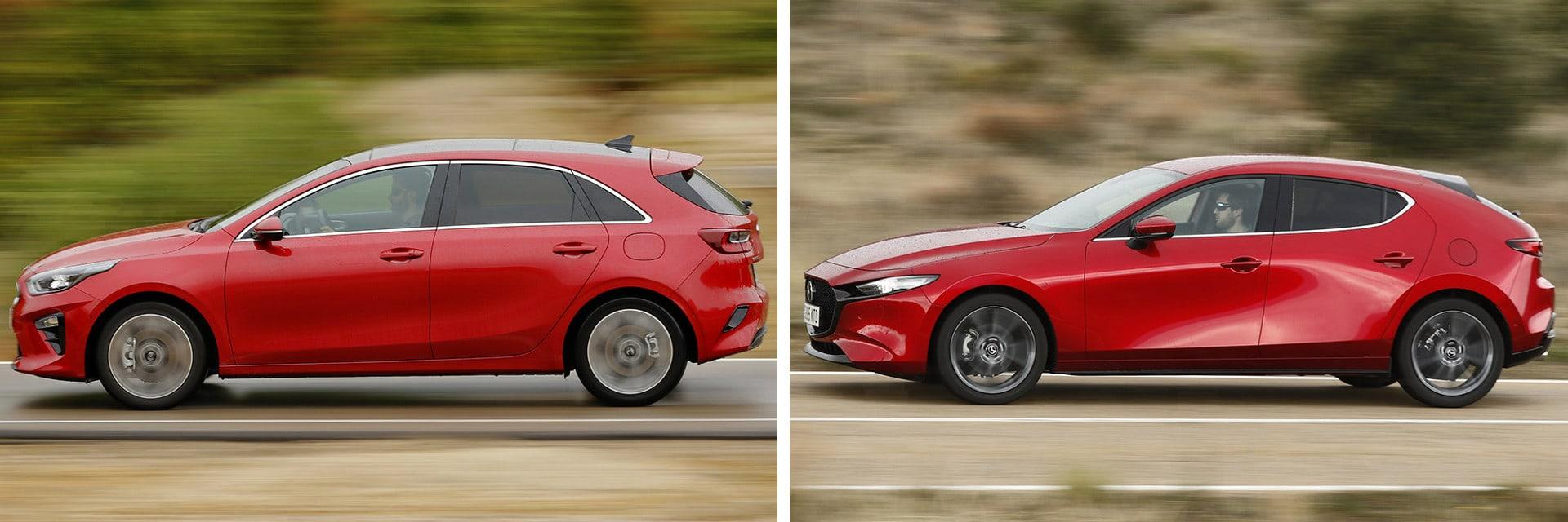 Las fotos del Kia Ceed corresponden al acabado GT Line y las del Mazda3 al Zenith. / km77