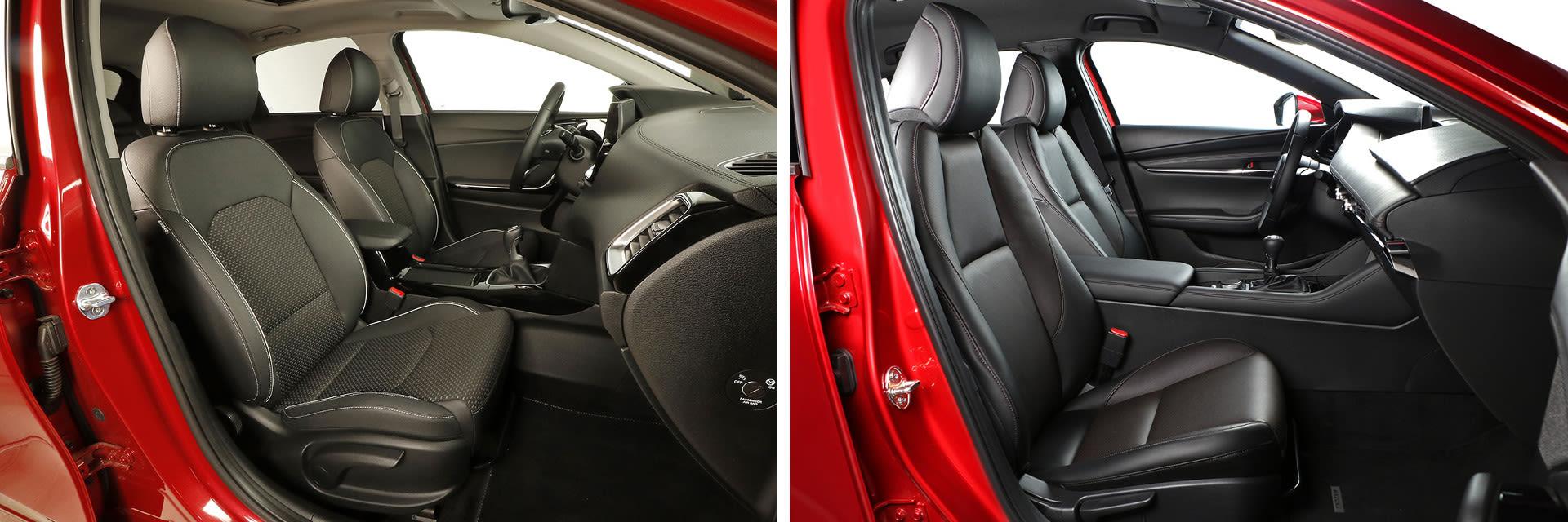Los asientos delanteros del Ceed (izq.) y el Mazda3 (dcha.) son cómodos y sujetan bien el cuerpo.