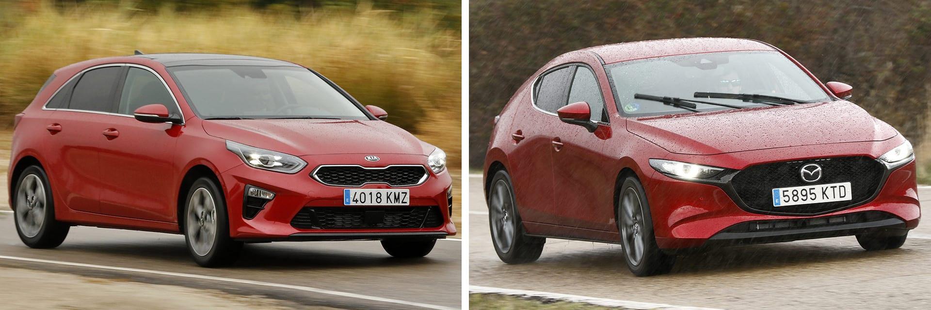 El Ceed (izq.) utilizado en esta prueba está a la venta por 19.127 euros; el Mazda3 (dcha.) está disponible por 20.715 euros.