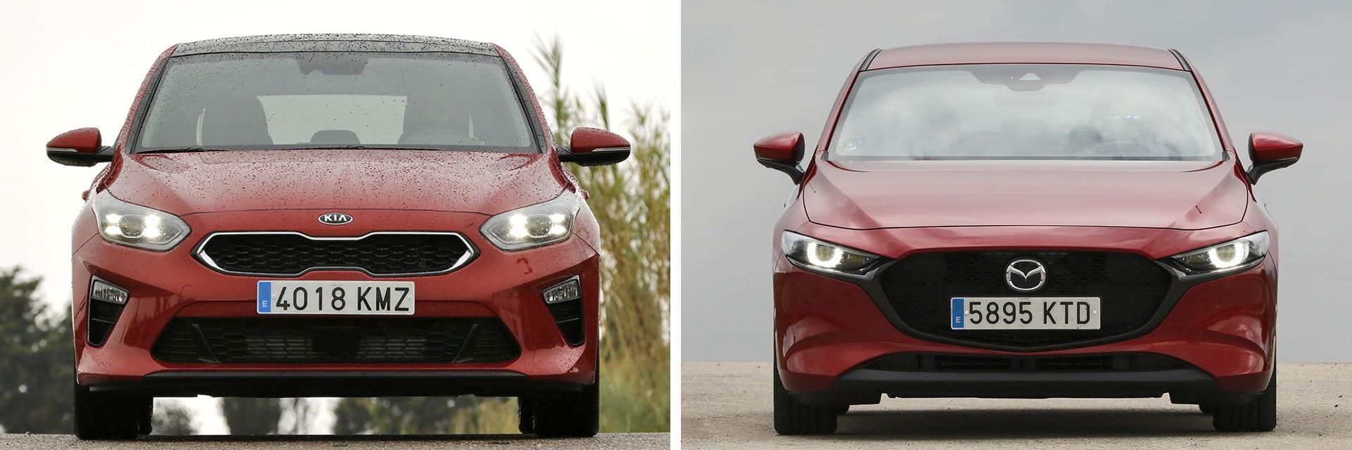 El Mazda3 (izq.) tarda 7,2 segundos en acelerar de 80 a 120 km/h ; 1,2 segundos más rápido que el Ceed (dcha.)