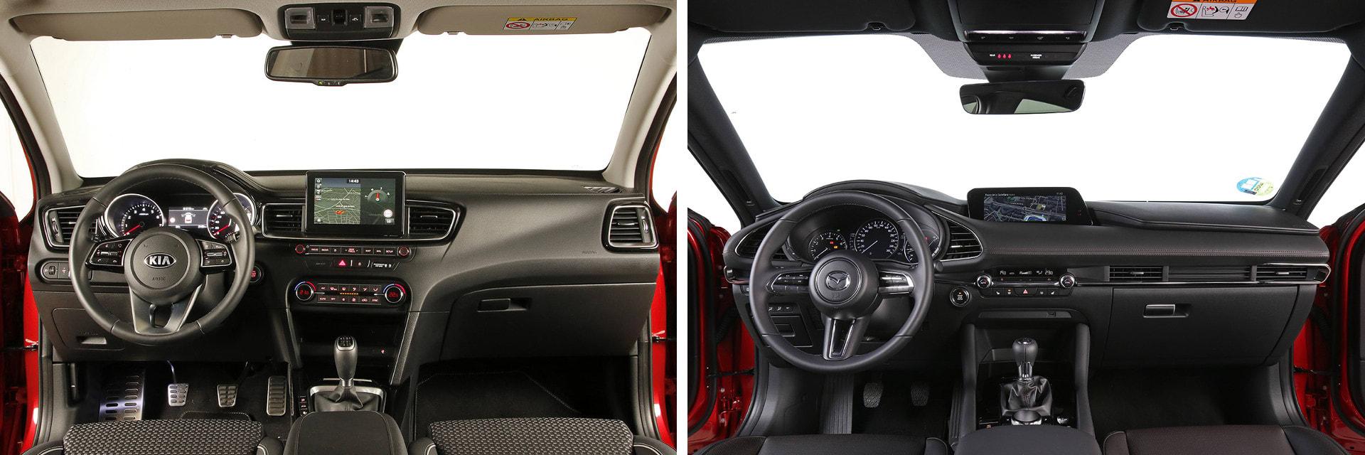 Los materiales del interior, tanto del Ceed (izq.) como del Mazda3 (dcha.), dan sensación de buena calidad y de tener un ajuste sólido.