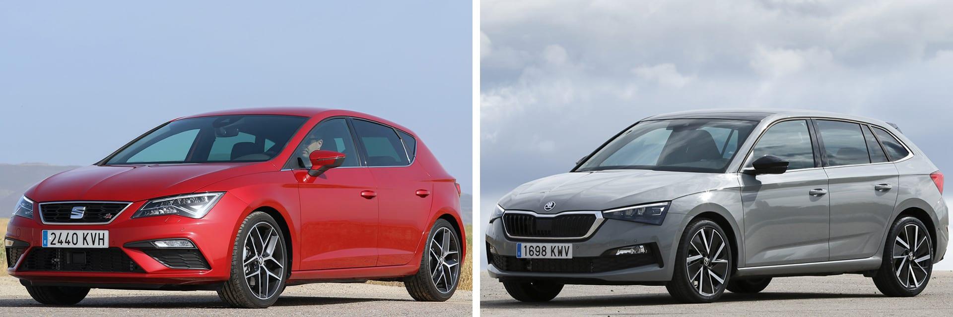 Las fotos del SEAT León corresponden al acabado mencionado en la comparativa (izq.); y las del Škoda Scala (dcha.) al acabado First Edition(*) / km77