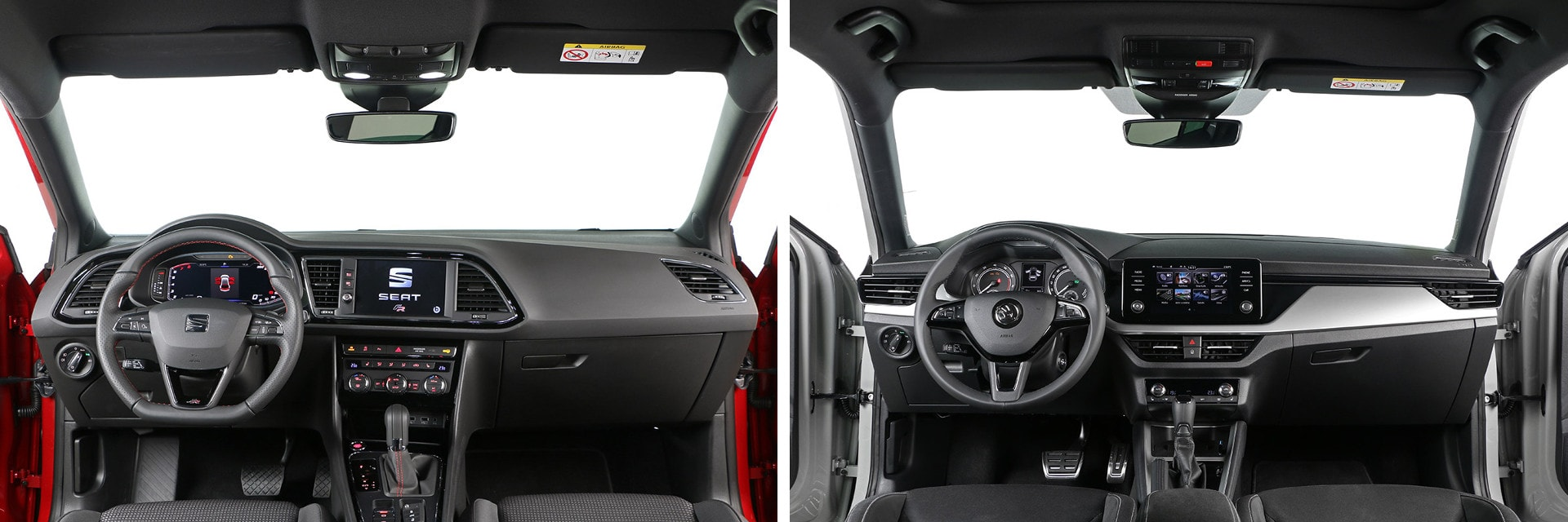 El interior del SEAT León (izq.) transmite mayor sensación de calidad que el del Škoda Scala (dcha.)