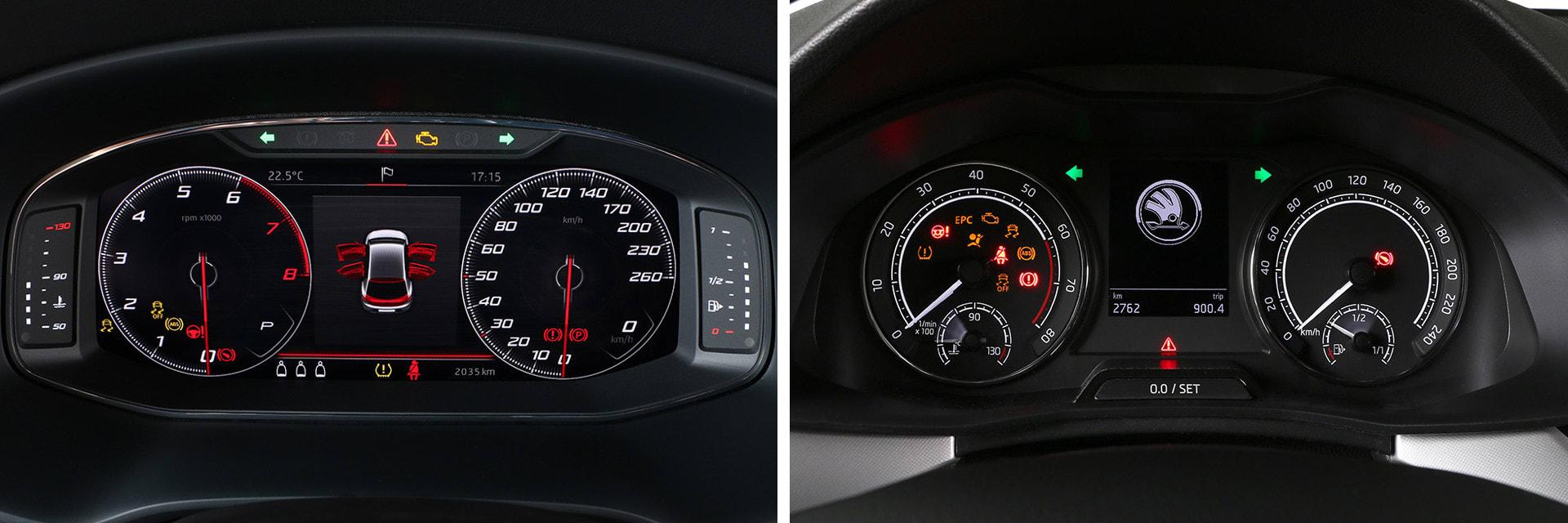 Este SEAT León (izq.) viene con opción a la instrumentación digital (360 €). El Škoda (dcha.) tiene la instrumentación tradicional, la digital cuesta 510 euros.
