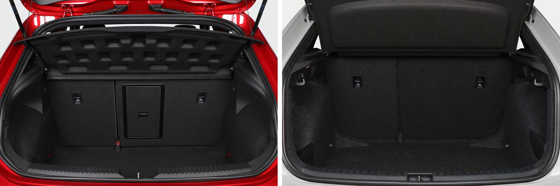 El volumen del maletero del Scala (dcha.) es de 467 litros; 87 litros más que el del SEAT (izq.)