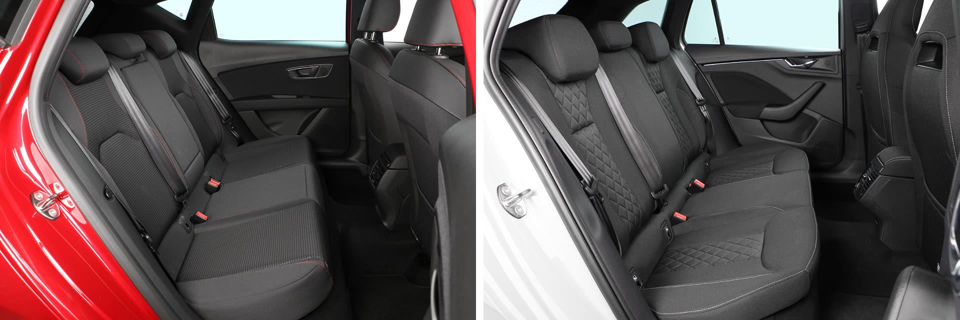 El Škoda Scala (dcha.) es el modelo de su segmento con mayor espacio para las piernas en la fila posterior de asientos.