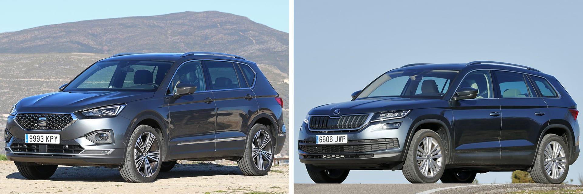 El SEAT Tarraco (izq.) tiene mayor aceleración; el Škoda Kodiaq (dcha.) es más económico y tiene un menor consumo. / km77