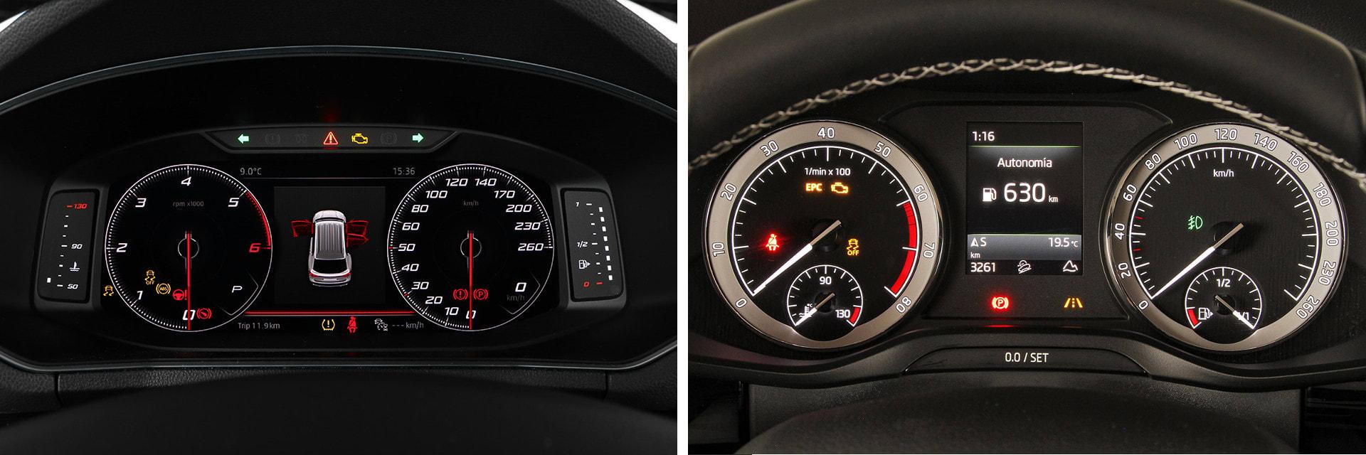 La instrumentación del SEAT (izq.) está formada por una pantalla digital; la del Škoda (dcha.) es convencional. / km77
