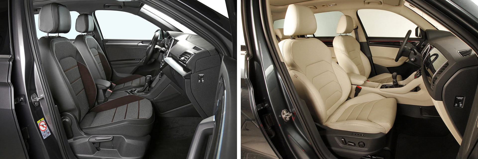 Los asientos de serie del Škoda (dcha.) son calefactables, mientras que en los del SEAT (izq.) son una opción que cuesta 380 euros. / km77
