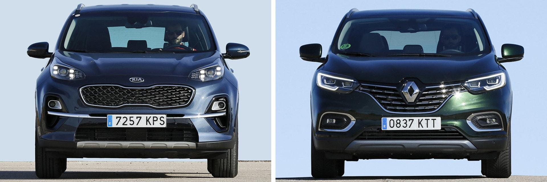 El Kadjar (dcha.) es un vehículo ligeramente más silencioso y cómodo de suspensión que el Sportage (izq.) / km77