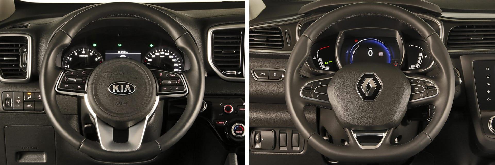 Tanto en el Sportage (izq.) como en el Kadjar (dcha.) es fácil sentirse cómodo. Ambos ofrecen buena visibilidad. / km77