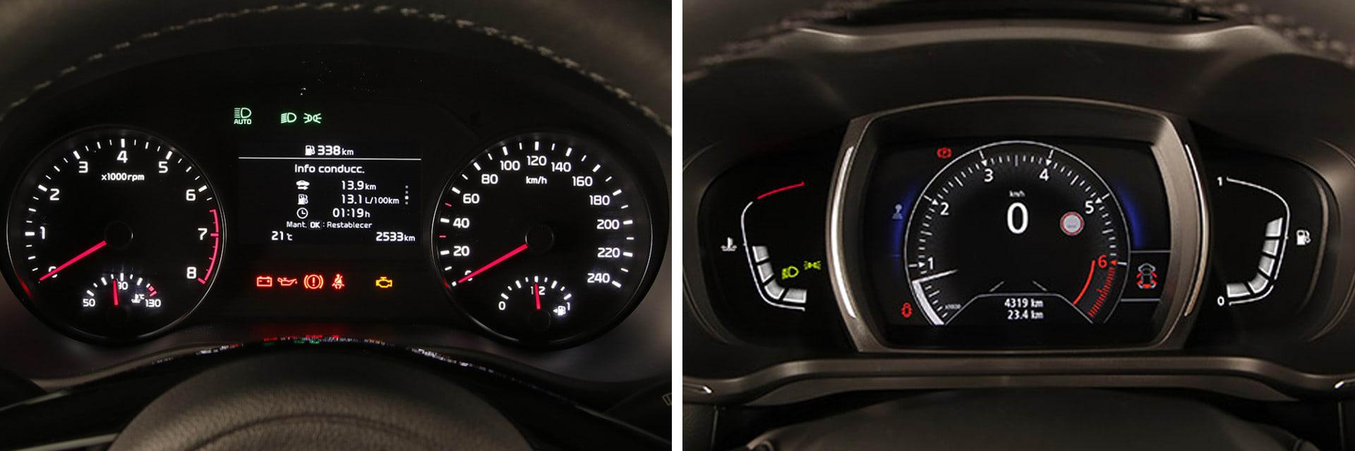 Las instrumentaciones tienen buena visualización en ambos vehículos. Ninguno de los dos dispone de pantalla digital.
