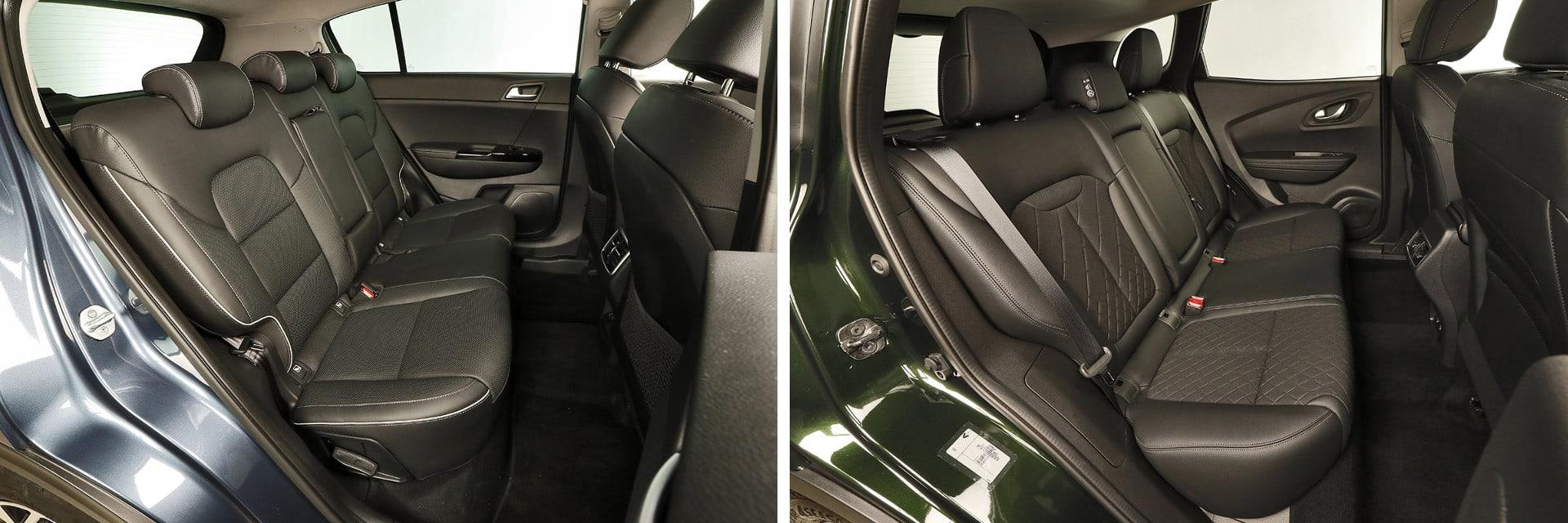 En los asientos traseros del Kia (izq.) puede reclinarse el respaldo. / km77