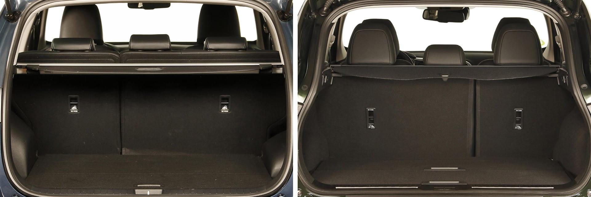 La capacidad del maletero del Sportage (izq.) es de 503 litros, 31 litros más que en el Renault Kadjar (dcha.) / km77