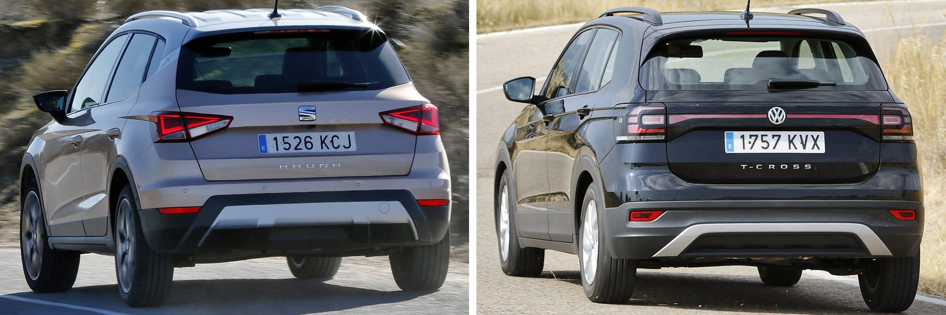 Aun teniendo el mismo motor, el Volkswagen T-Cross (dcha.) consume casi medio litro menos que el SEAT Arona (izq.) / km77