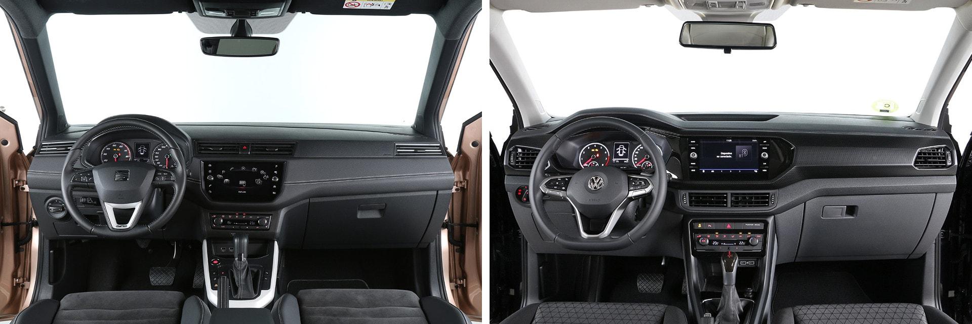Tanto el interior del SEAT (izq.) como el del Volkswagen (dcha.) cuentan con materiales de buena calidad. / km77