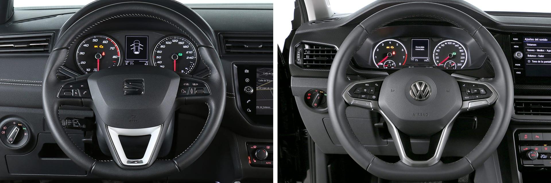 Los volantes de ambos coches son muy parecidos: tienen tres radios y mandos multifunción. / km77