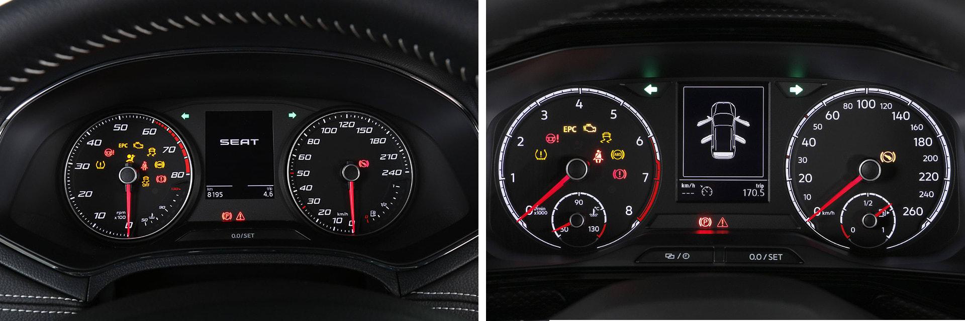 Ambas instrumentaciones están formadas por dos esferas a los lados y, en el centro, una pantalla para el ordenador de a bordo. / km77