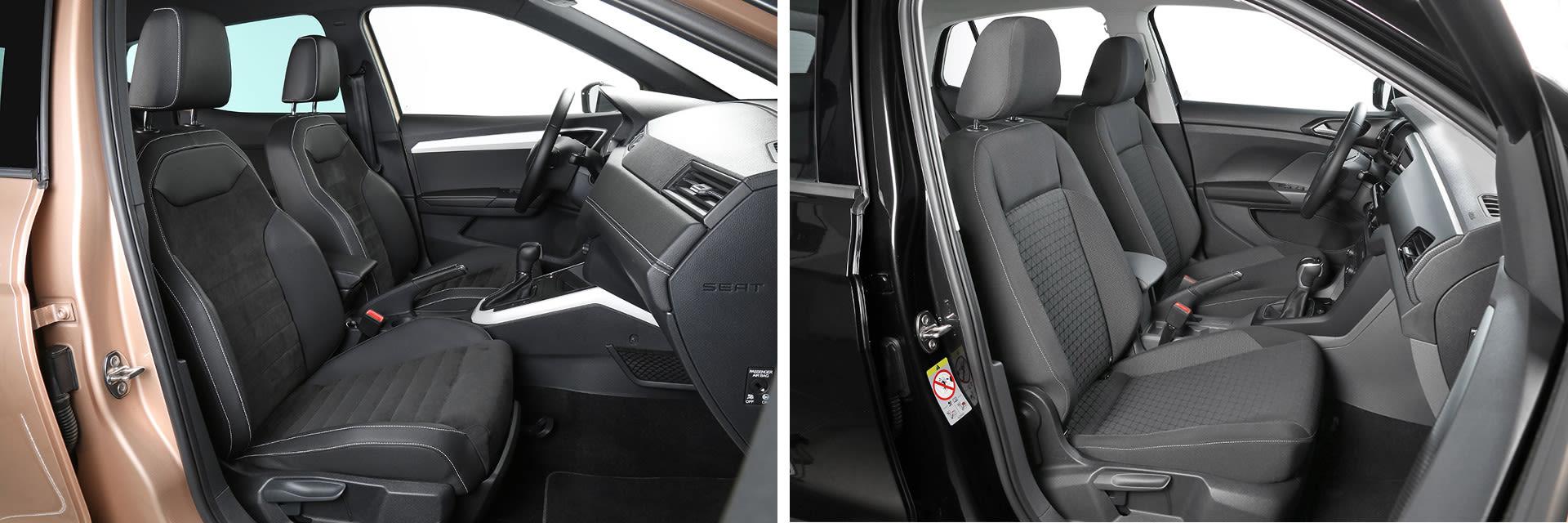 Los asientos de este SEAT Arona (izq.) son opcionales y tienen un coste adicional de 450 €; los del T-Cross (dcha.) son los de serie. / km77