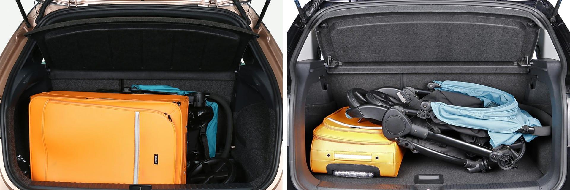 El SEAT Arona (izq.) tiene un maletero de 400 litros; el del Volkswagen T-Cross (dcha) es de 455 litros. / km77