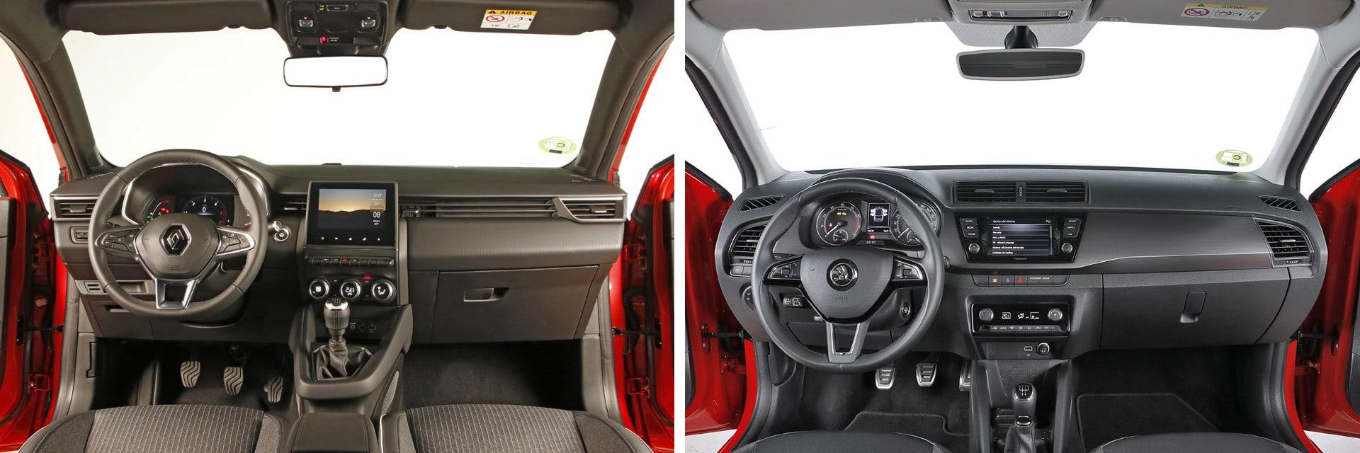El habitáculo del Renault Clio (izq.) está mejor insonorizado que el del Fabia (dcha.) / km77