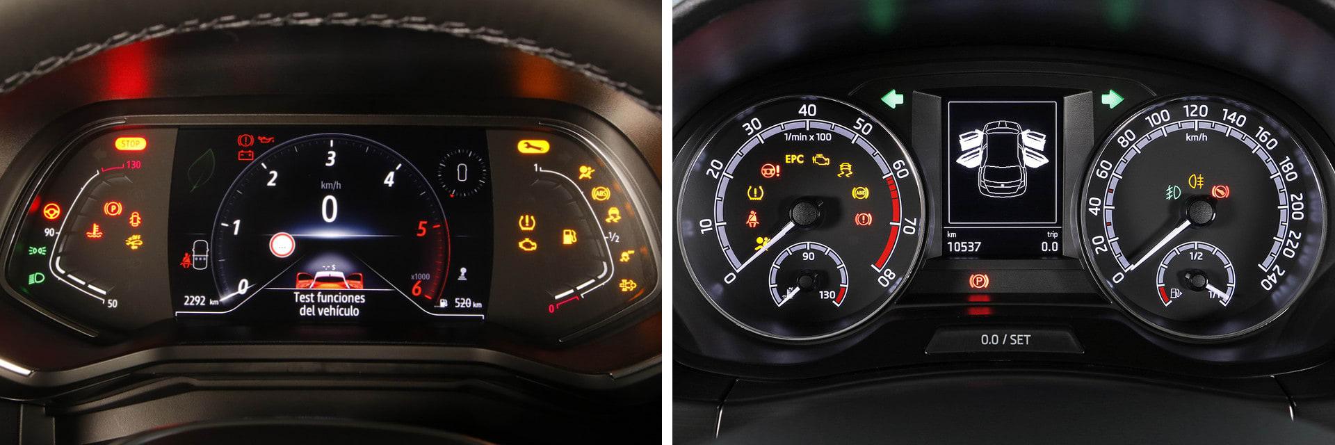 Como opción, el Clio (izq.) puede venir con una pantalla digital en el centro de la instrumentación; en el Škoda (dcha.) no existe esa opción. / km77