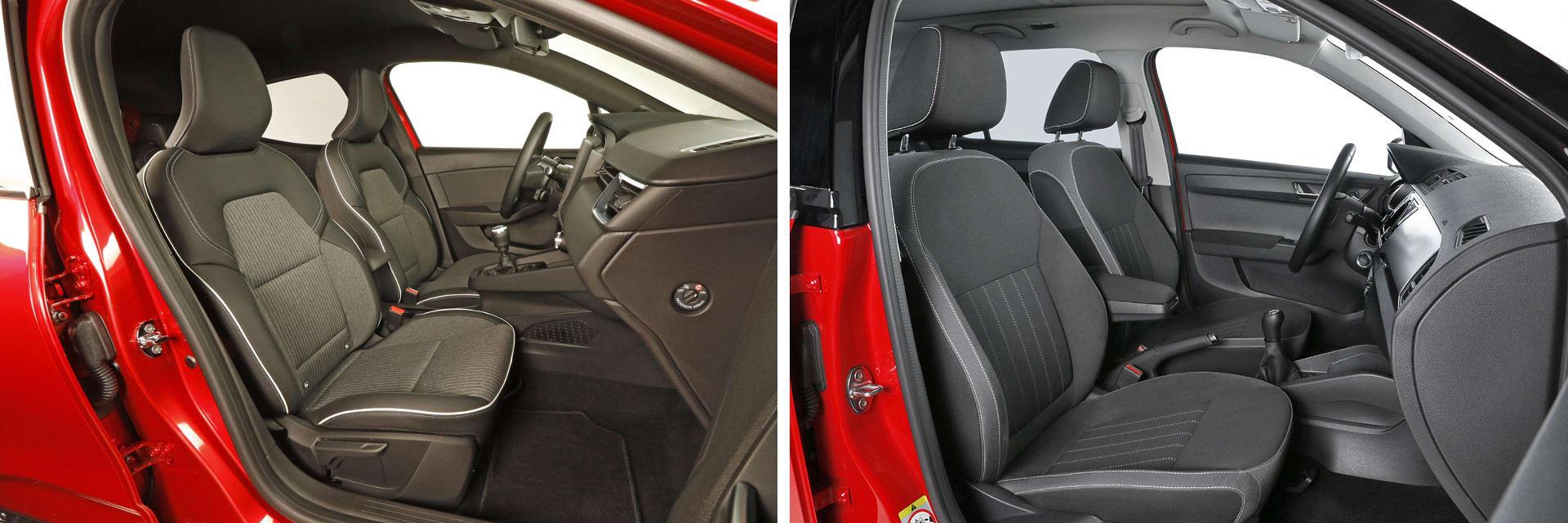 Los asientos delanteros son cómodos en ambos modelos, aunque los del Clio (izq.) son mejores para realizar trayectos más largos. / km77