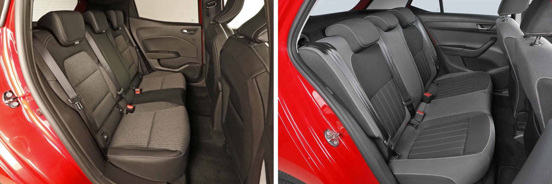 Las plazas traseras del Škoda Fabia (dcha.) tienen más espacio tanto para las piernas como para la cabeza. / km77