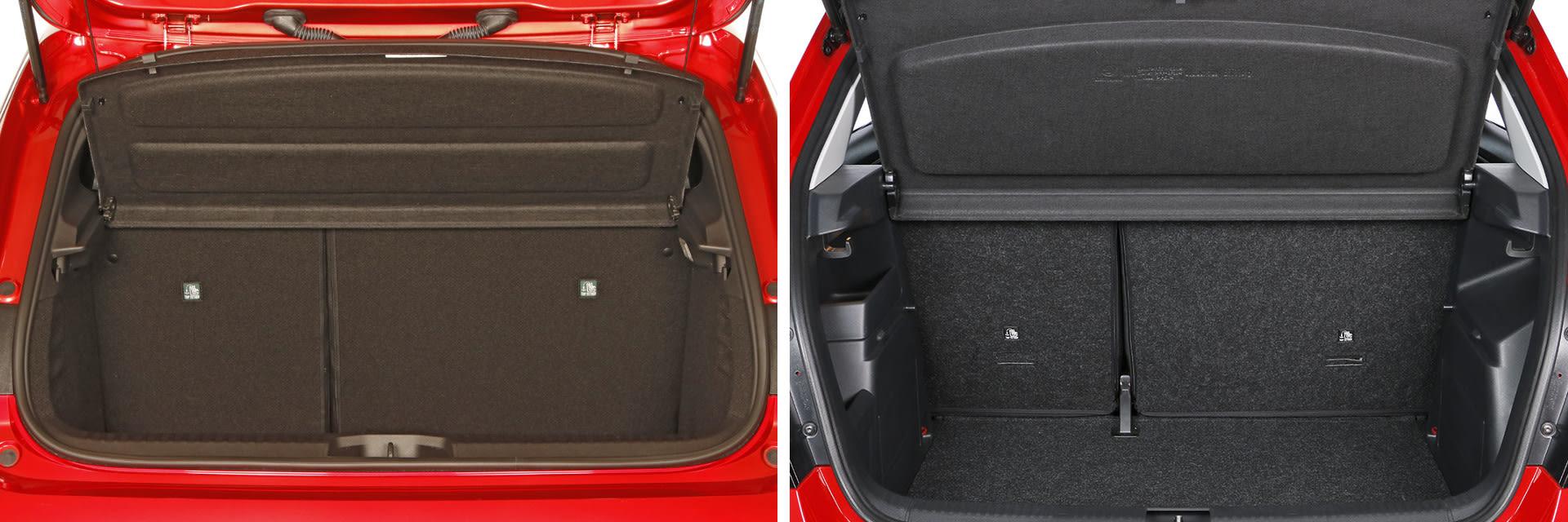 Tanto el Clio (izq.) como el Fabia (dcha.) cuenta con un maletero similar: el primero tiene una capacidad de 340 litros y el segundo de 330. / km77