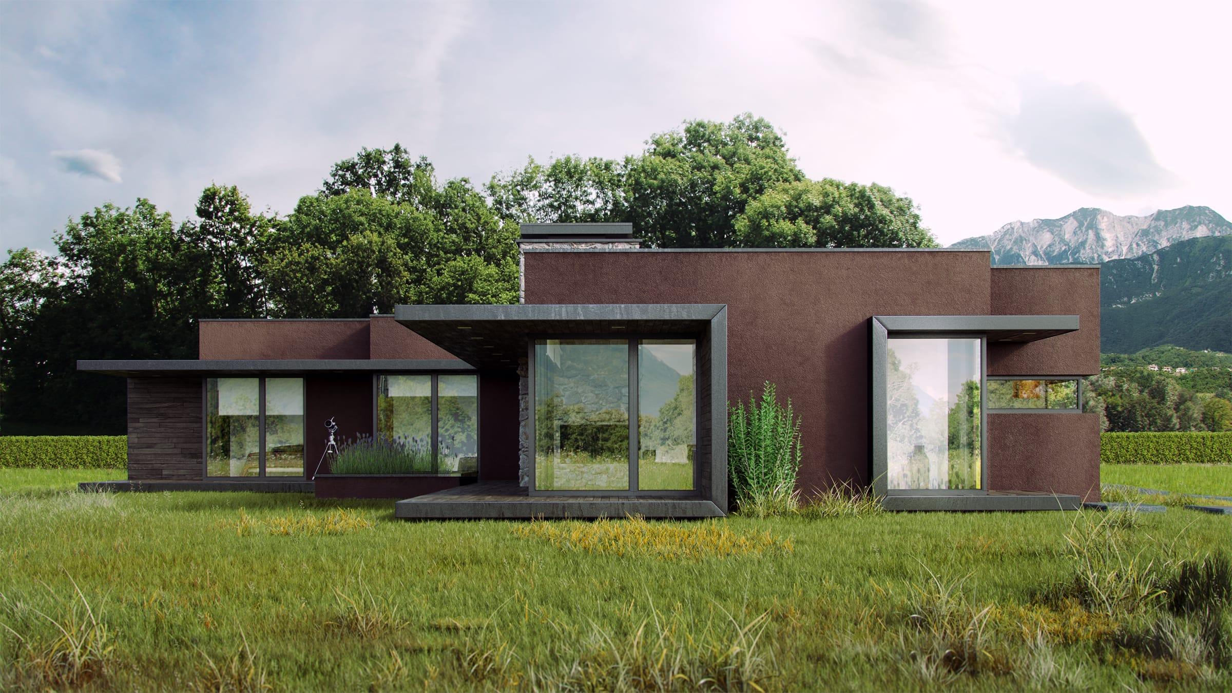 una casa efficiente e integrata con l'ambiente dell'impresa Del Bianco Costruzioni