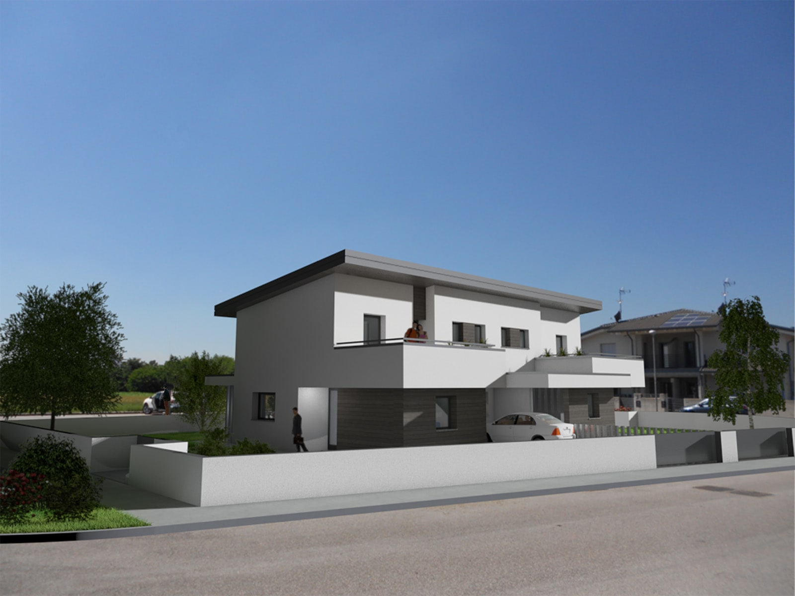 Portici, terrazze e giardini per ivivere anche l'outdoor di queste ville bifamiliari IRIDE costruite in bioedilizia dall'impresa Rossi. F.lli