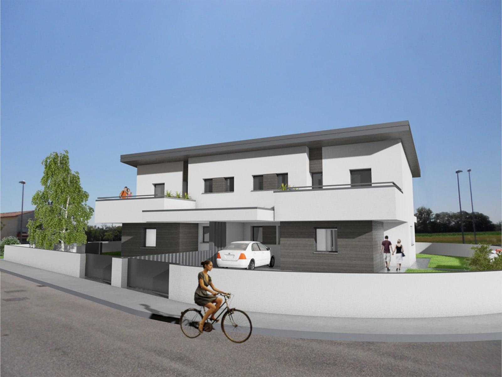 Villa bifamiliare IRIDE garantisce ingressi separati e la giusta privacy degli spazi esterni.